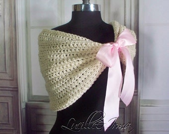 Light Pink Bridal Shawl Bridesmaids Shawl Shrug Wedding Stole Winter Wedding Shoulder Cover Shrug Bridesmaids Shoulder Wrap Crochet Knit