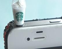 frappuccino phone plug- phone decoration, phone accessories