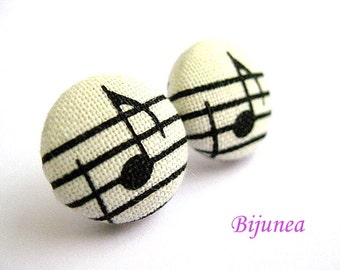 Music earrings - Music stud earrings - White music note studs - Music posts - Music note post earrings sf231