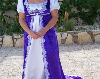 Handmade White Josephine Dress And Purple Cape - Free Shipping