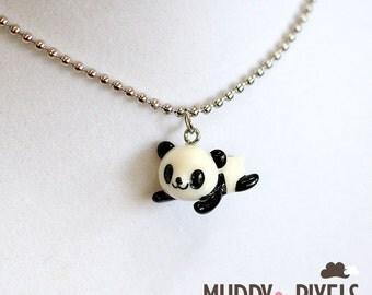 Kawaii Resin Panda Necklace! Laying Down