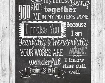Bible Verse, Psalm 139:13-14, Chalkboard Art Print