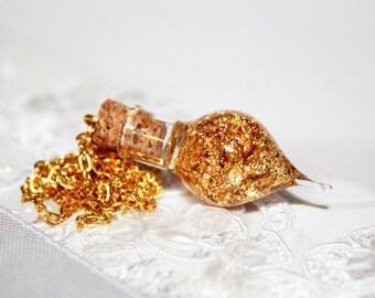 Felix Felicis or Liquid Luck Potion Glass Bottle Pendant Necklace. Harry Potter