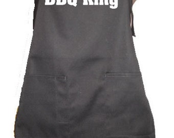 BBQ KING Apron Kitchen Accessory Grill Grilling Cover Up Funny Humor