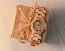 CHRISTMAS SALE Maple Wood Hand Watch, Natural Wooden Wristwatch, by WOODEER