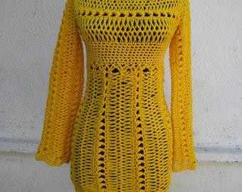 Knitted Dress  Yellow Lace Dress  Hand Knitted Dress  Elegant Ladies Dress  Party Dress  Sun Dress  Fashion Lady Dress
