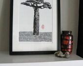 MADAGASCAR BAOBAB TREE - Linocut Print - Adansonia grandidieri - Block Print 10x13 - Ready to Ship