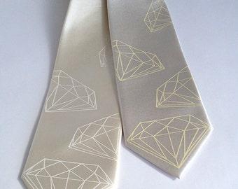 Diamond necktie. Silkscreened men's wedding tie. Geometric jewel print on creamy white and more. Microfiber.