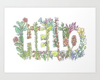Fine Art Print | Hello in Flowers | by Marie Gardeski