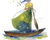 Daydream Believer - Watercolor Art Print Woman Rowing Boat Flower Hair Lillies Lady of Shallot Available in Paper & Canvas By Olga Cuttell