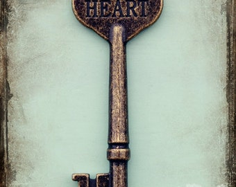 Inspirational Art, Typography, Skeleton Key Photo, Engraved, Heart Photo, Bronze, Teal, Romantic Art, Abstract Photograph, Whimsy Art
