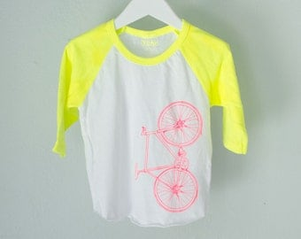 infant baseball tee 3-6 MONTHS neon YELLOW baby long sleeve bicycle shirt bike