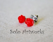 Tiny Red Rose Stud Earrings on Stainless Steel
