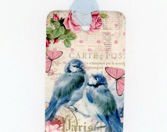 Bluebird and Butterflies Tags , Gift Tags , French Tags , Pink and Blue Tags , Birthday Tags