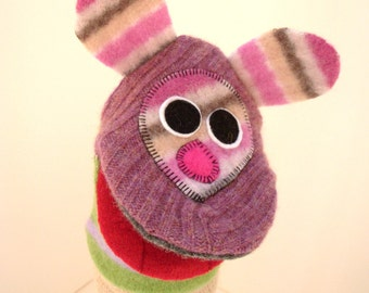 Handpuppet mouse  named Dezzie  made of seven recycled 100% wool sweaters