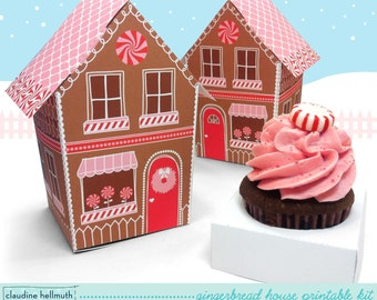 gingerbread house  -  cupcake holder, Christmas cookie box, holds party favors, gifts and treats printable PDF kit - INSTANT download