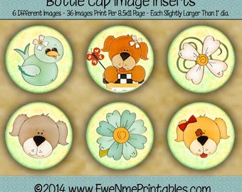 Dog Puppy Bottle Cap Image Printables - flowers birds dogs 1 inch round circle - bottlecap inserts - Digital PDF and/or JPG File
