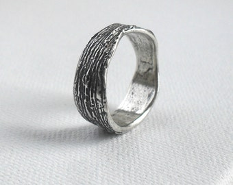 Rustic Tree Bark Ring in Pure Fine Silver - Customizable