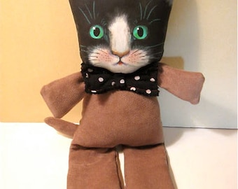 ooak cat art doll, tuxedo cat, black and white cat, original art doll, ooak doll, Buddy nursery art, collectible