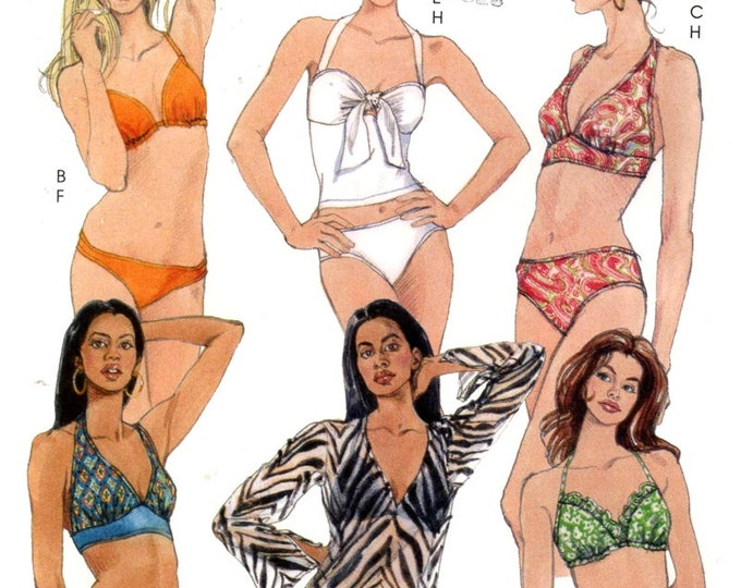 Two piece Bikini and cover up swimsuit bathing suit sewing pattern McCalls 5400 Sz 4 to 12 Uncut out of print