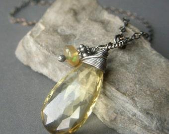 Lemon Quartz Necklace, Oxidized Sterling Silver, Large Wirewrapped AAA Briolette Gemstone Pendant with Genuine Ethiopian Opal