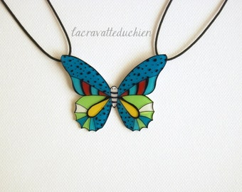 Butterfly Statement Necklace, Butterfly jewerly, Blue Green Butterfly, Wearable art