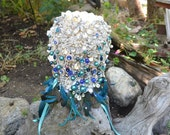 Teal and blue ombre peacock brooch bouquet -- deposit on a  peacock cascading bridal brooch bouquet