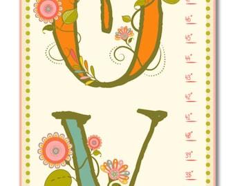Children's Growth Chart - Nursery Art - Love Pink Growth Chart