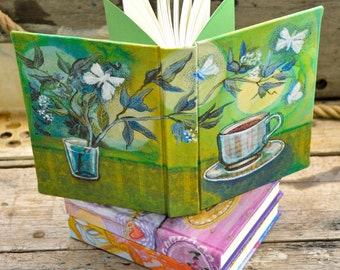 The Art of Tea. Green tea with Moths and Moon. Handbound journal sketchbook notebook for poetry creativity and gratitude. Exclusive design.