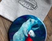 Star Bear pocket mirror  | spirit animal bear, guardian zuni bear gift, hopi bear for little girl mirror | by Meluseena