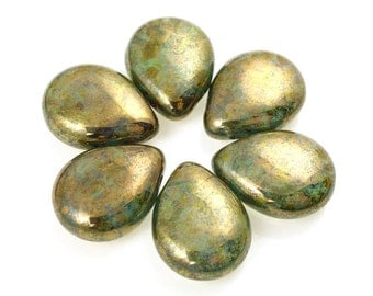 6 BRONZE GREEN Briolettes Czech Glass Teardrop Briolette Beads - 16mm x 12mm Pressed Glass Autumn Fall Olive Beads