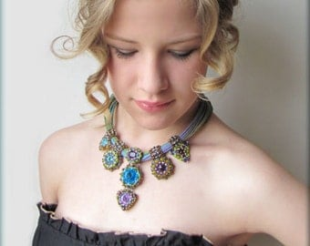 Statement necklace - OOAK beadwork - spring colors - NY 212 - Ameera