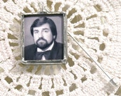 Boutonniere Photo Pin with quote on back. Customized in silver or copper/gold. Can also be worn on Groom's Lapel.