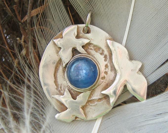 Featured listing image: Eternity Blue Bird pendant, blue kyanite stone pendant, symbolic bird pendant, spiritual jewelry