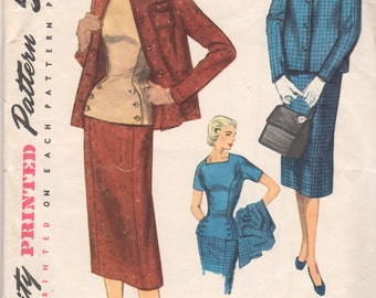 Simplicity 1310 1950s Misses Suit Pattern Skirt Jacket and Shapely Overblouse Pattern Womens Vintage Sewing Pattern Size 14 Bust 32