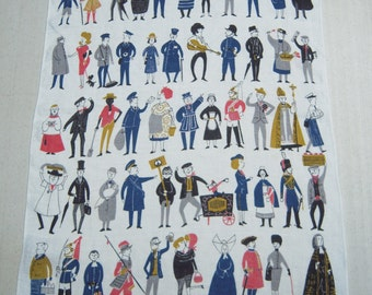 Vintage Towel The Many People of London Fun