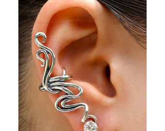 Ear Cuff Silver Ear Wrap Spiro Swirl Ear Cuff Silver Silver Swirl Earring Non-Pierced Earring Wedding Jewelry Statement Earring Bling