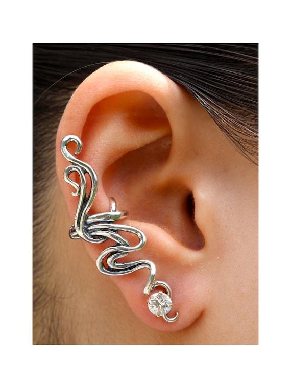 Ear Cuff Silver Ear Wrap Spiro Swirl Ear Cuff Silver Silver Swirl Earring Non-Pierced Earring Wedding Jewelry Statement Earring Bling
