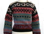 70s Folk Print Ski Sweater // Hand Knit // Wooden Buttons