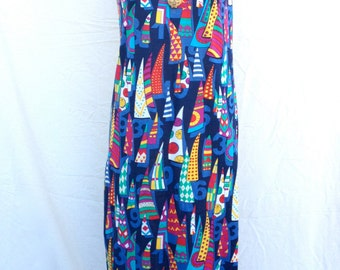 1960s Pop Art Sail Boats & Numbers Dress