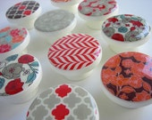Orange, Red, Brown and Beige Floral Pattern Knobs, Autumn Drawer Knobs - Wood Knobs- 1 1/2 Inches - Choose your quantity - Made to order
