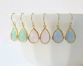 Mint, Pink, Blue Crystal Drop Earrings