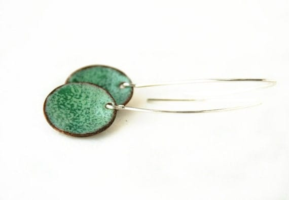 Mint green enameled earrings by JudysDesigns
