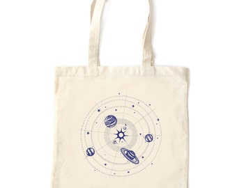 Solar System tote bag, cotton fabric, glow in the dark screenprint, awesome star planets design, perfect gift for kids and adults, silver