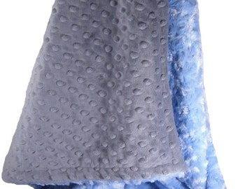 Blue Swirl and Charcoal Gray Minky Dot Baby Blanket Monogram IncludedCan Be Personalized