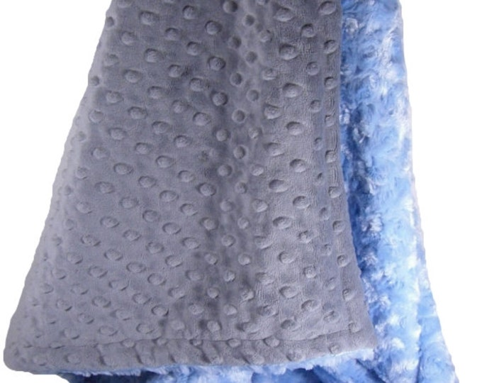 Blue Swirl and Charcoal Gray Minky Dot Baby Blanket