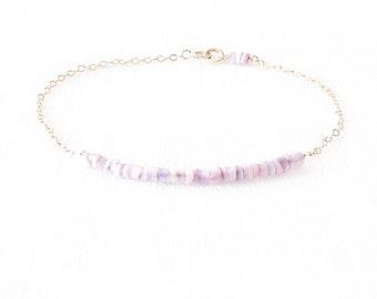 Minimalist Shell Gold Chain Bracelet - Cebu Beauty Shell, Gold Filled - Purple, Lavender, White, Gold - The Oceania: Heishi Shell Bar