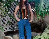 60s Dead stock, Knit rainbow, sweater vest, crop top. Festival, hippie, boho, western NWT
