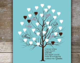 Gift for Grandma, Family Tree with hearts Great Parents get Promoted to grandparents gift from grandkids, how much love my heart can hold