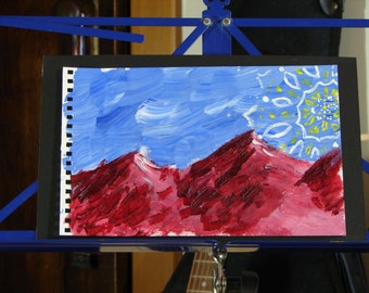 Red Mountain Sun Mandala - Original Acrylic Painting on Watercolor Paper 7x11 Mounted